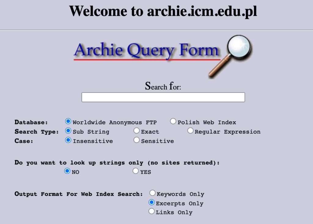 archie premier moteur de recherche
